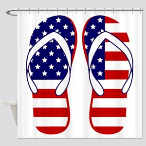American Flag flip flops Shower Curtain