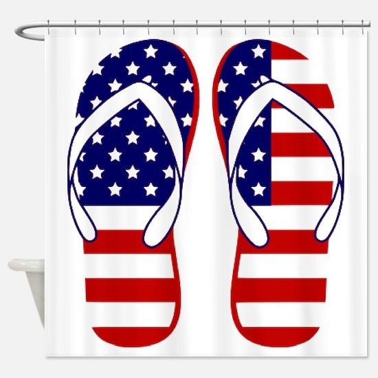 American Flag flip flops Shower Curtain