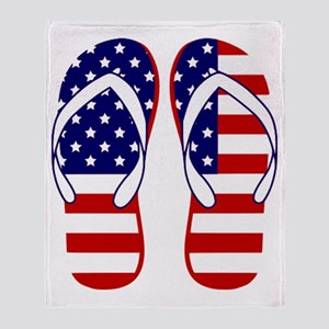 American Flag flip flops Throw Blanket