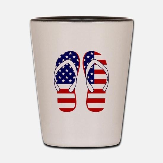 American Flag flip flops Shot Glass