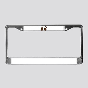 Isolated Rusty Padlock License Plate Frame