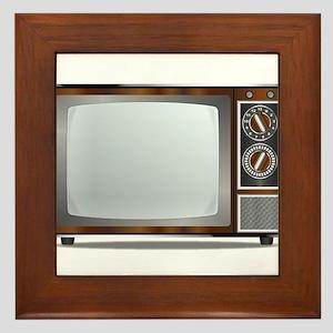 Old Television Set Framed Tile