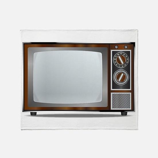 Old Television Set Throw Blanket