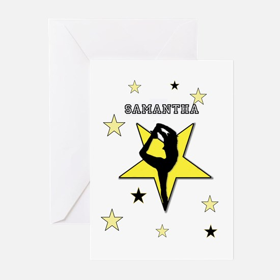 Yellow cheerleader personalized Greeting Cards