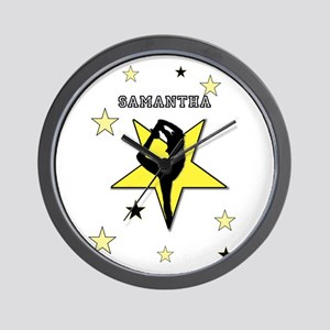 Yellow cheerleader personalized Wall Clock