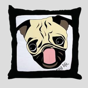 Pug Head Throw Pillow