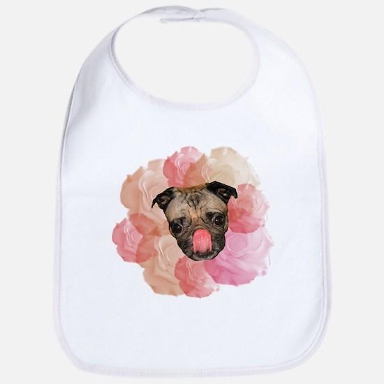 chew rose pug Bib