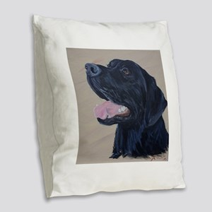 Black Labrador Burlap Throw Pillow