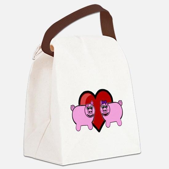 Piggy Love Canvas Lunch Bag