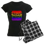 Love Wins Gay Pride Flag Women's Dark Pajamas