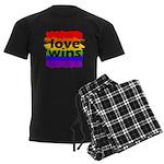Love Wins Gay Pride Flag Men's Dark Pajamas