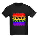 Love Wins Gay Pride Flag Kids Dark T-Shirt