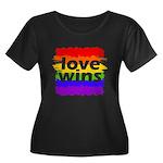 Love Win Women's Plus Size Scoop Neck Dark T-Shirt