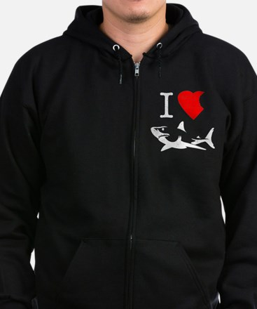 I Love Sharks Zip Hoodie (dark)