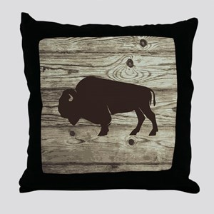 Buffalo Western Wood Plank Throw Pillow