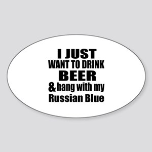 Hang With My Russian Blue Sticker (Oval)