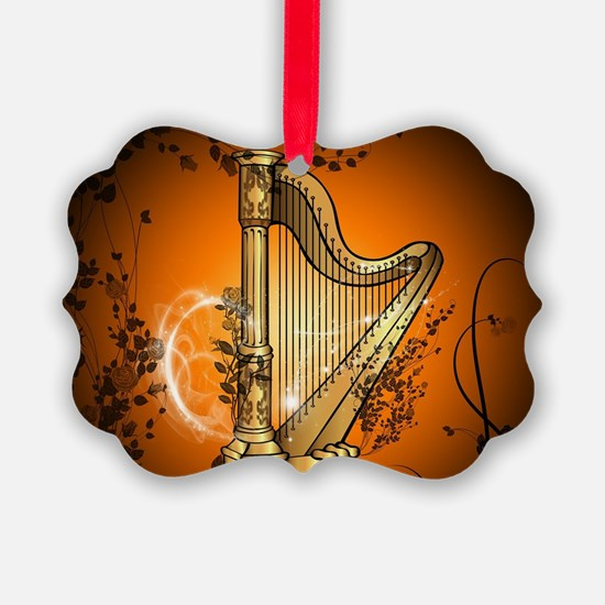 Golden harp Ornament