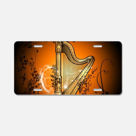 Golden harp Aluminum License Plate