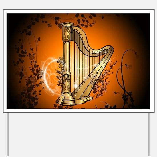 Golden harp Yard Sign