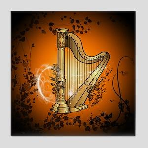 Golden harp Tile Coaster