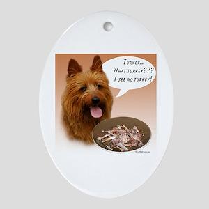 Aussie Terrier Turkey Oval Ornament