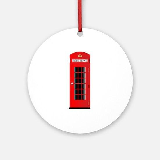 UK Telephone Box Round Ornament