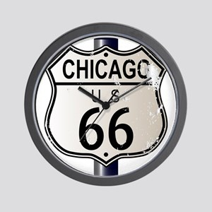 Chicago Route 66 Highway Sign Wall Clock