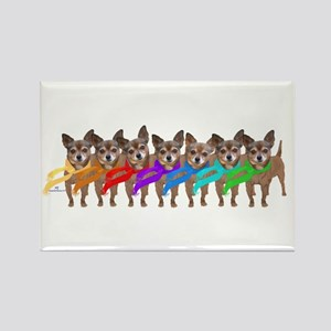 Chihuahua Winter Rainbow Magnets