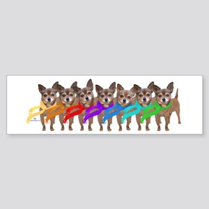 Chihuahua Winter Rainbow Bumper Sticker