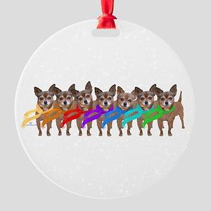 Chihuahua Rainbow Round Ornament