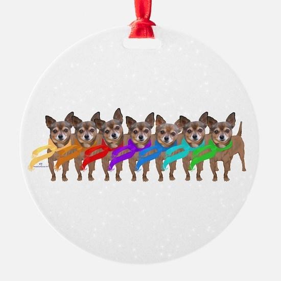 Chihuahua Rainbow Ornament