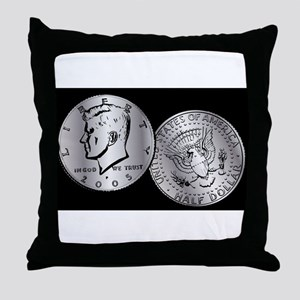 US Half Dollar Coin Throw Pillow