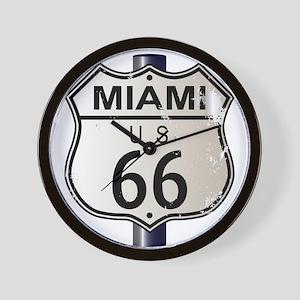 Miami Route 66 Sign Wall Clock