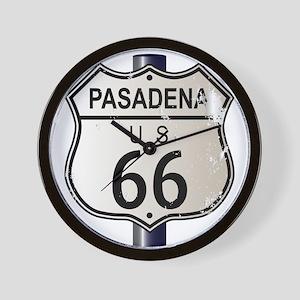 Pasadena Route 66 Sign Wall Clock