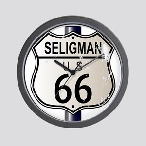 Seligman Route 66 Sign Wall Clock