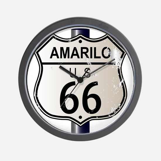 Amarillo Route 66 Sign Wall Clock