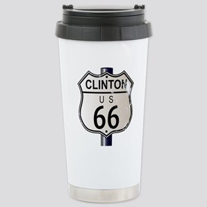 Clinton Route 66 Sign Stainless Steel Travel Mug