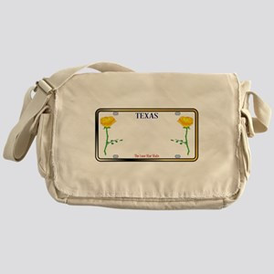 Texas Yellow Rose License Plate Messenger Bag