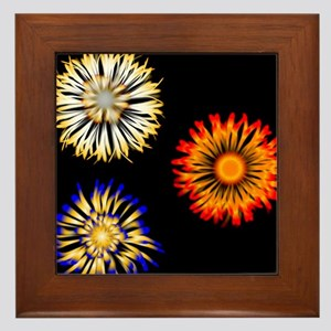 Abstract Flowers Framed Tile