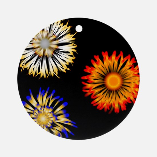 Abstract Flowers Round Ornament