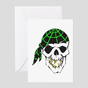 Bandana Evil Pirate Skull Greeting Card