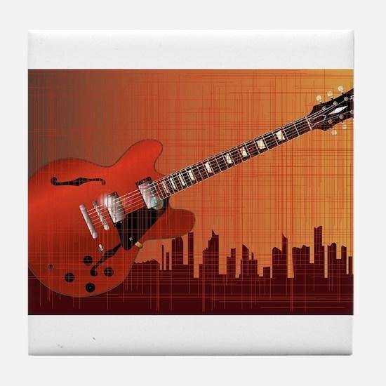 Grunge City Guitar Tile Coaster