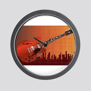 Grunge City Guitar Wall Clock