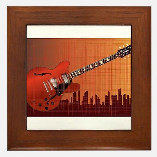 Grunge City Guitar Framed Tile