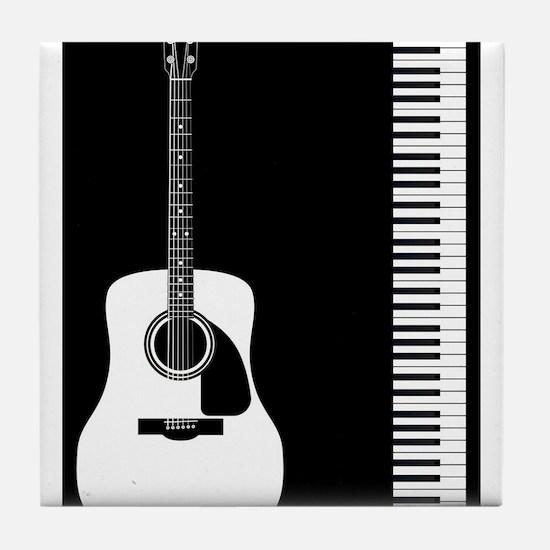 Guitar Piano Duo Tile Coaster