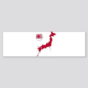 Japanese Flag Sphere And Map Bumper Sticker