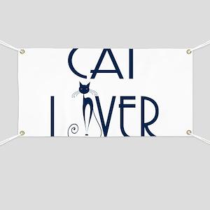 Cat Lover Modern Navy Blue Concept text Des Banner