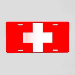 Swiss National Flag Aluminum License Plate