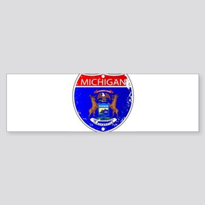 Michigan Flag Icons As Interstate S Bumper Sticker