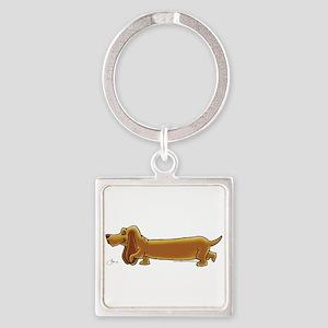NEW! Weiner Dog Square Keychain
